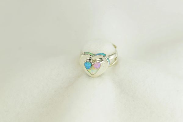Sterling silver white, pink and blue opal inlay ring. R277
