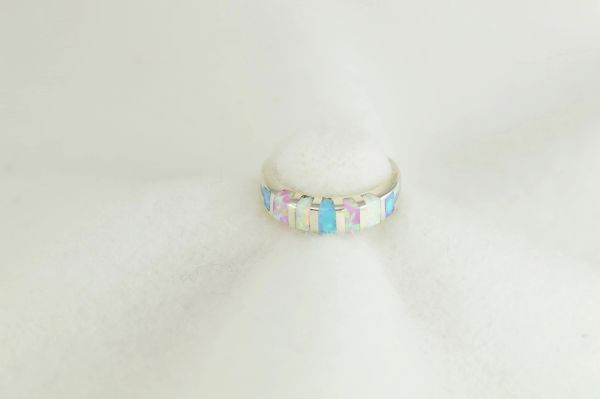 Sterling silver white, pink and blue opal inlay ring. R279