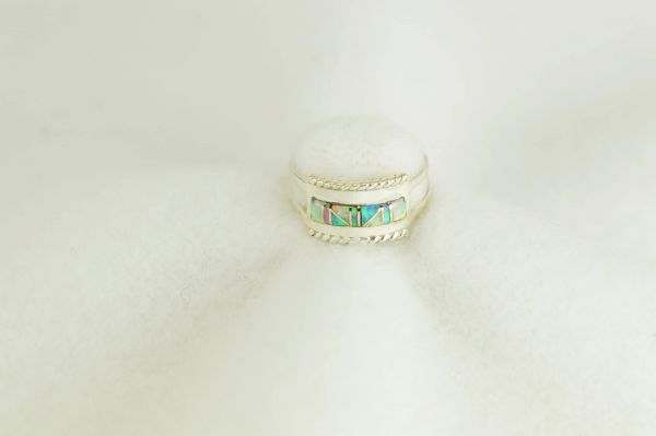 Sterling silver white, pink and blue opal inlay ring. R280