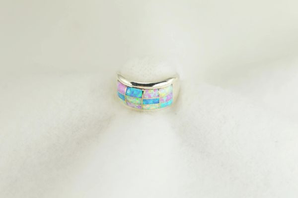 Sterling silver white, pink and blue opal inlay ring. R281
