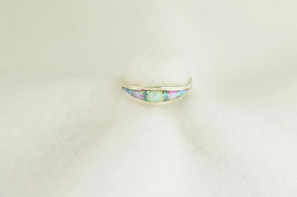Sterling silver white, pink and blue opal inlay ring. R282