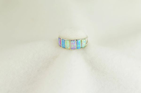 Sterling silver white, pink and blue opal inlay ring. R283