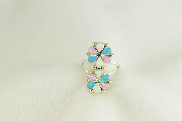 Sterling silver white, pink and blue opal inlay ring. R284