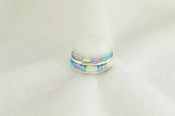 Sterling silver white, pink and blue opal inlay ring. R285