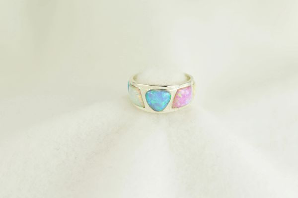 Sterling silver white, pink and blue opal inlay ring. R286
