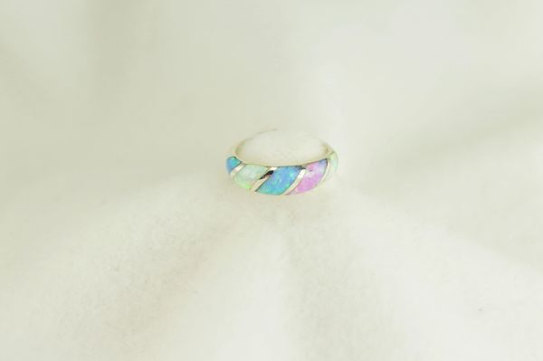 Sterling silver white, pink and blue opal inlay ring. R287
