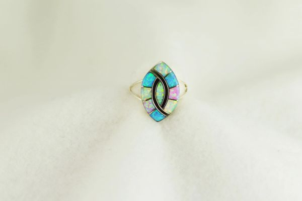 Sterling silver white, pink and blue opal inlay ring. R288