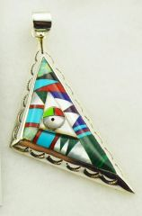 Sterling silver multi color inlay fancy triangle pendant. P005