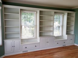 Custom Bookcase with Bench Seating