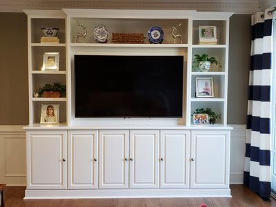 "Custom Media Center with 65"" Flat Panel TV and Display Shelves"