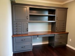 Custom Home Office Cabinets with Printer and File Drawers