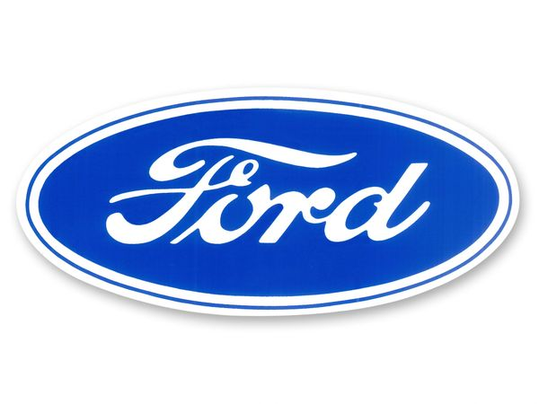 """CHASSIS, BODY & EXTERIOR DECALS: FORD BLUE OVAL DECAL (9.5"""" OVAL)"""