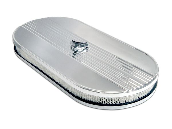 AIR CLEANER (64-73): V8 OVAL CHROME PLATED-ECONOMY