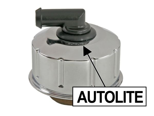 BILLET ENGINE CAPS (67-70): AUTOLITE LOGO, CHROME, CLOSED, TWIST-ON