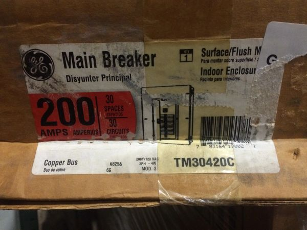 GE MAIN CIRCUIT BREAKER 200 AMP TM30420C NOS