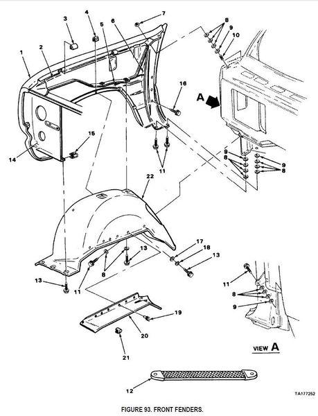 M880 FRONT LEFT FENDER SUPPRESSION SHIELD 4087269 NOS