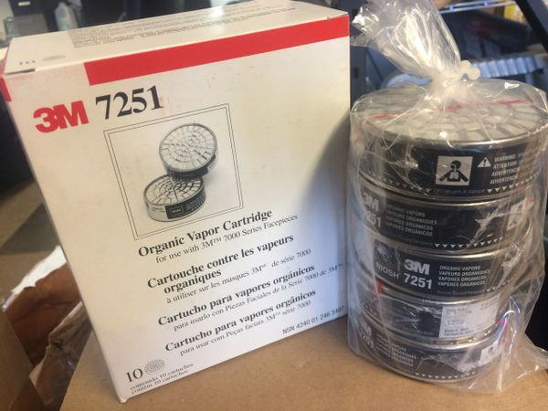 1 CASE (6 BOXES) 3M RESPIRATOR CARTRIDGE FILTERS 7251 NEW