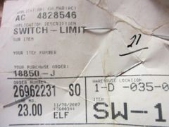 KALMAR LIMIT SWITCH 4828546 NOS