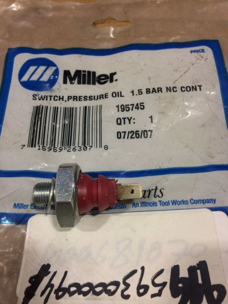 MILLER OIL PRESSURE SWITCH 1.5 BAR 195745, 5930-01-661-9626 NOS