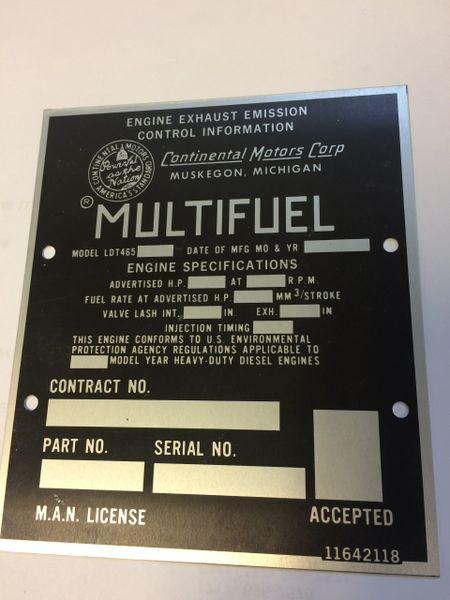 M44 MULTI FUEL ENGINE EXHAUST EMISSION PLATE 11642118, 9905-00-074-4245 NOS