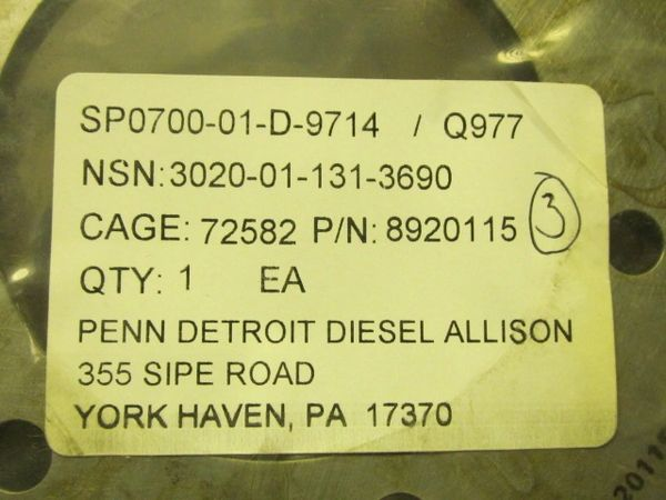 Detroit Diesel PULLEY 3020011313690 8920115 NOS