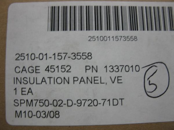 M977 VEHICULAR ROOF THERMAL INSULATION 1337010 NOS