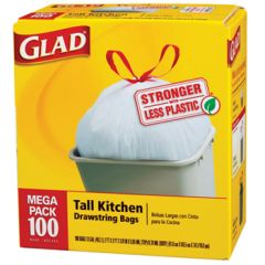 Glad Drawstring Tall Kitchen Bags 13 Gal. 100ct