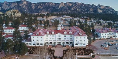 Drone photography of The Stanley Hotel, Estes Park, CO