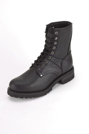 Wide Men's Biker Boots With Laces Up Front