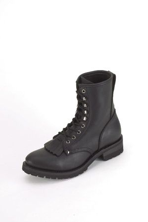 Wide Men's Biker Boots With Laces & Tassel In Front