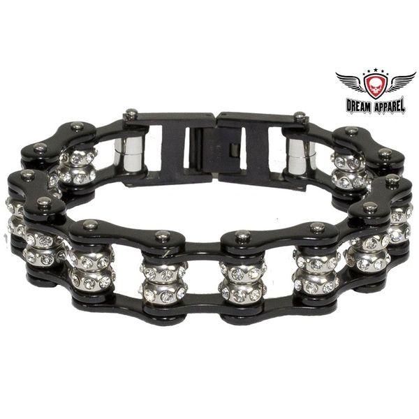 Black Motorcycle Chain Bracelet with Gemstones