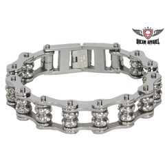 Chrome Motorcycle Chain Bracelet with Gemstones