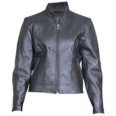 AL2160-Ladies Plain Black Leather Jacket