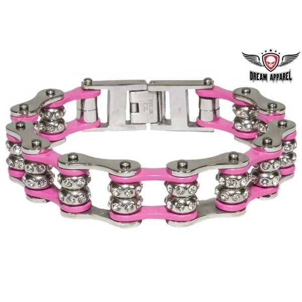 Pink Motorcycle Chain Bracelet with Gemstones