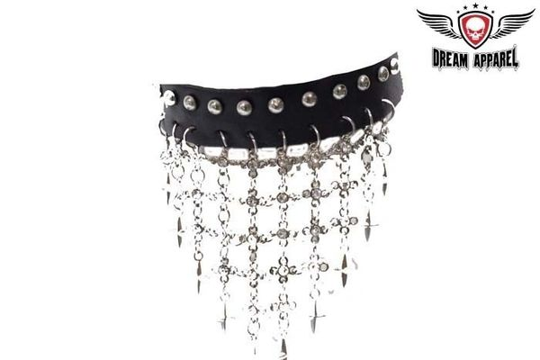 Leather Necklace With Crosses & Studs