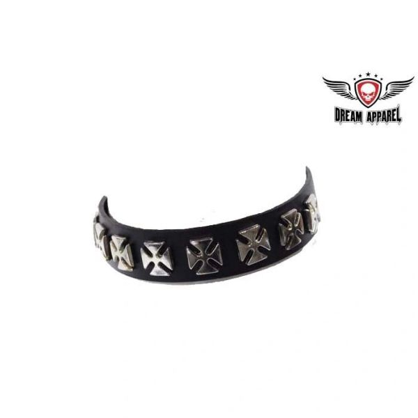 Motorcycle Leather Necklace With Chopper Crosses