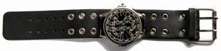 Black Leather Biker Watchband