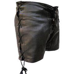 AL2880-Ladies' Black Leather Shorts