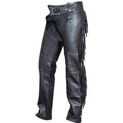 AL2407-Ladies Black Leather Fringe Chaps