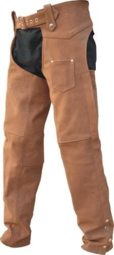 Brown Leather Motorcycle Lined Chaps