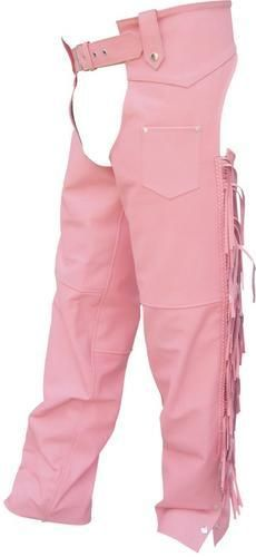 AL2422 Ladies Pink Fringed Motorcycle Chaps