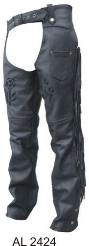 Ladies Black Rose lined Motorcycle chaps