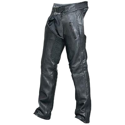 AL2451 Unisex Black Motorcycle Leather Chaps