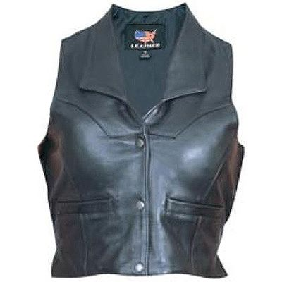 AL2305-Leather Collared Motorcycle Vest
