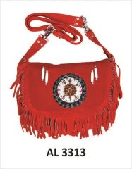Ladies Red Suede Handbag