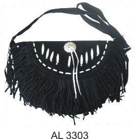 Ladies Western Style handbag Black suede