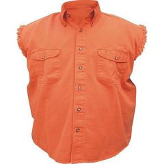 AL2902-Men's Orange Denim Sleeveless Shirt
