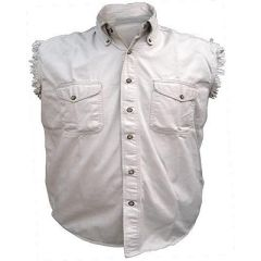 AL2903-Men's Cream Denim Sleeveless Shirt