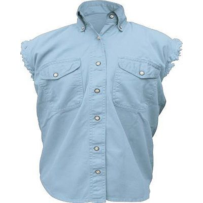 AL2925-Ladies Light Blue Denim Sleeveless Shirt