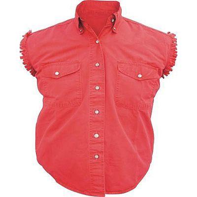 AL2926-Ladies Red Denim Sleeveless Shirt